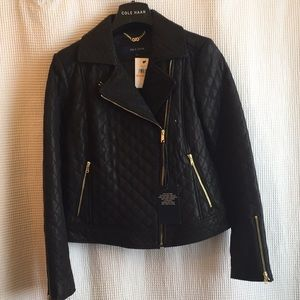 Cole Haan quilted leather motorcycle jacket size S